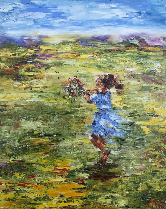 painting of a young girl in a field of grass