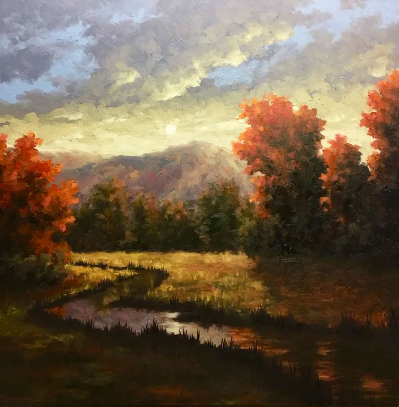 Impressionist painting of a sunset over a mountain with red trees