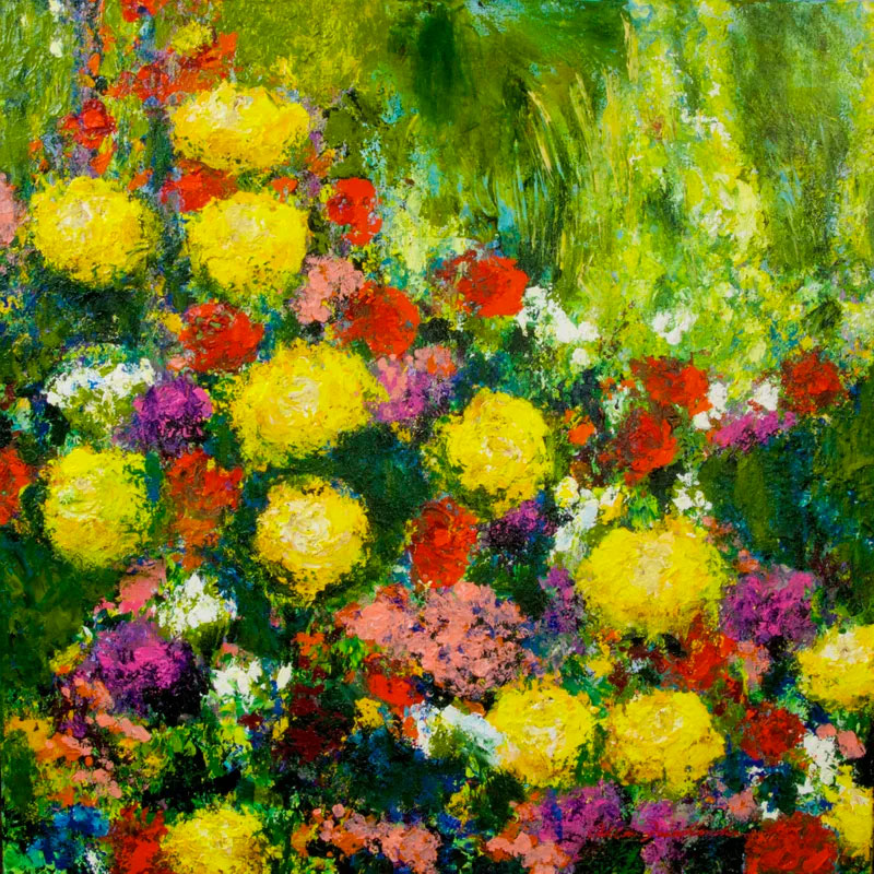 impressionist painting of bright flowers yellow green pink red and purple