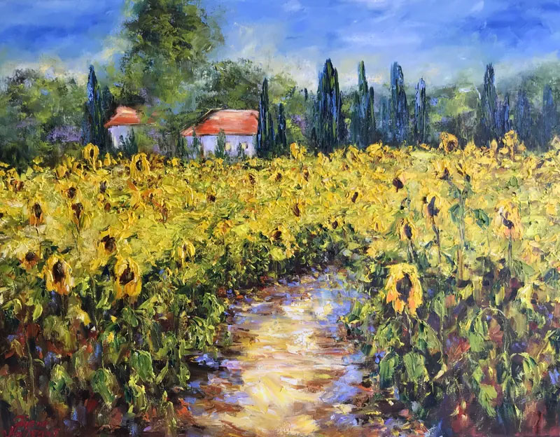 impressionist painting of a field of sunflowers with a small house and trees in the distance