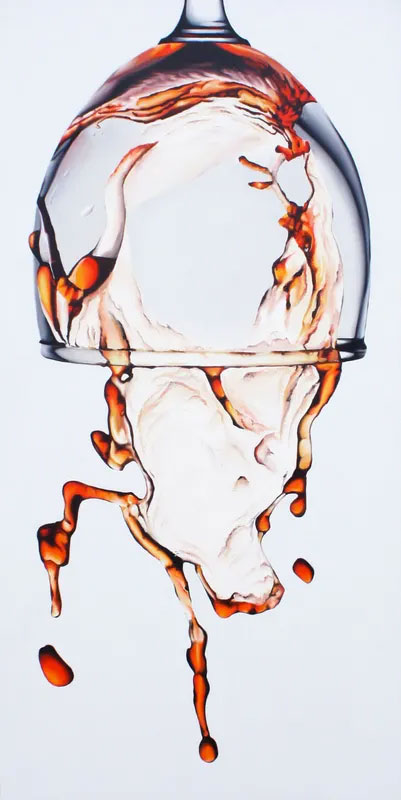 Painting of an upside down glass of wine