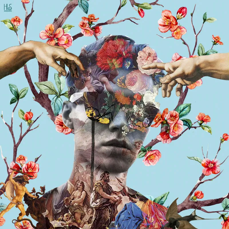 Blow your mind - decoupage of a man's face and flowers on branches