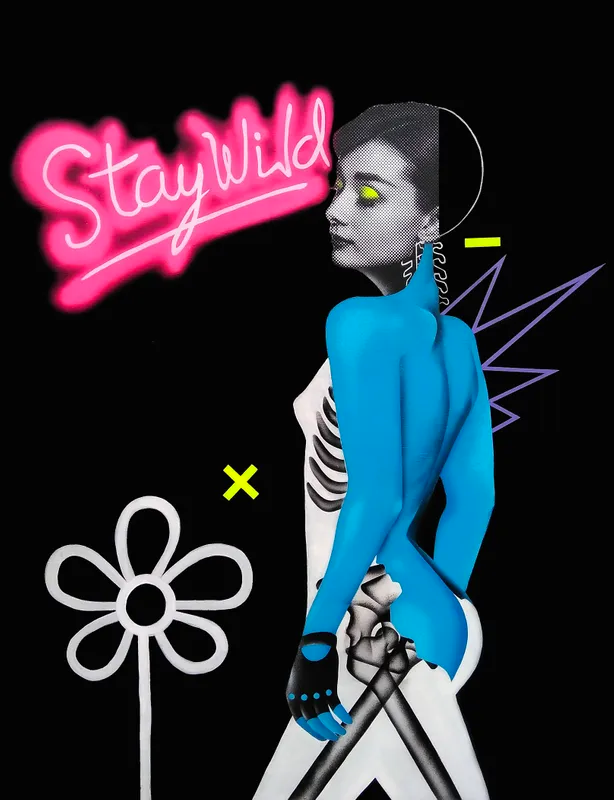 Pop art composite of Audrey Hepburn with a skeleton body and blue back, stay wild in pink letters