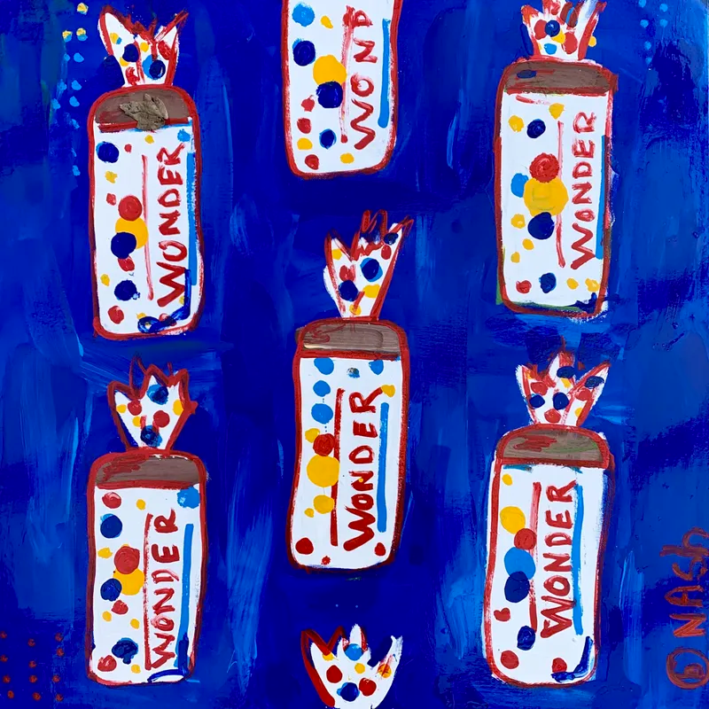 Floating loaves of wonder bread repeated on a blue background