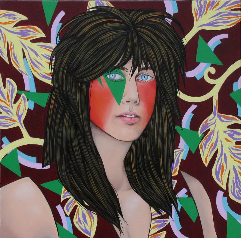 Colourful painting of a metal head with leaves in the background