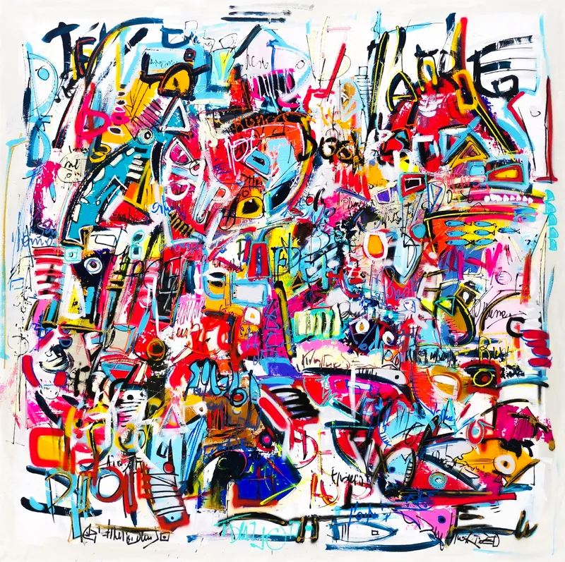 Colorful large square abstract painting
