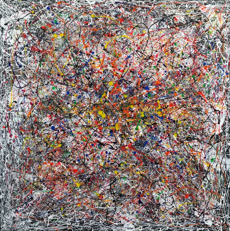 large square abstract painting with various colorful paint splashes