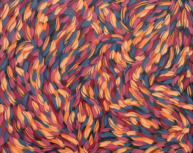 blue red and orange leaves swirl