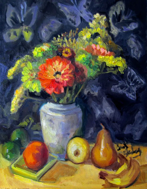 Still life art of fruit and flowers