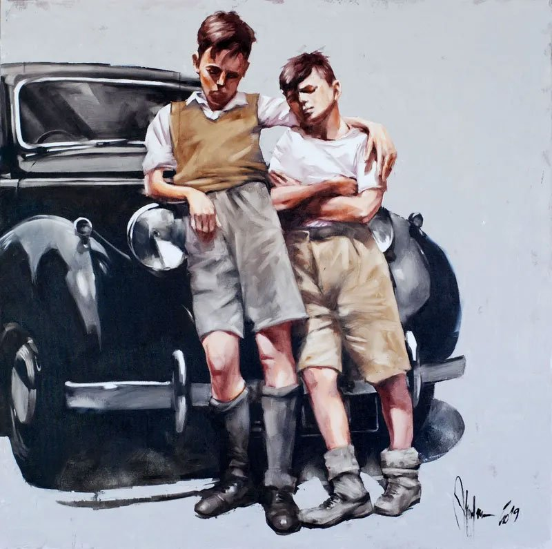 painting of two boys leaning against a car