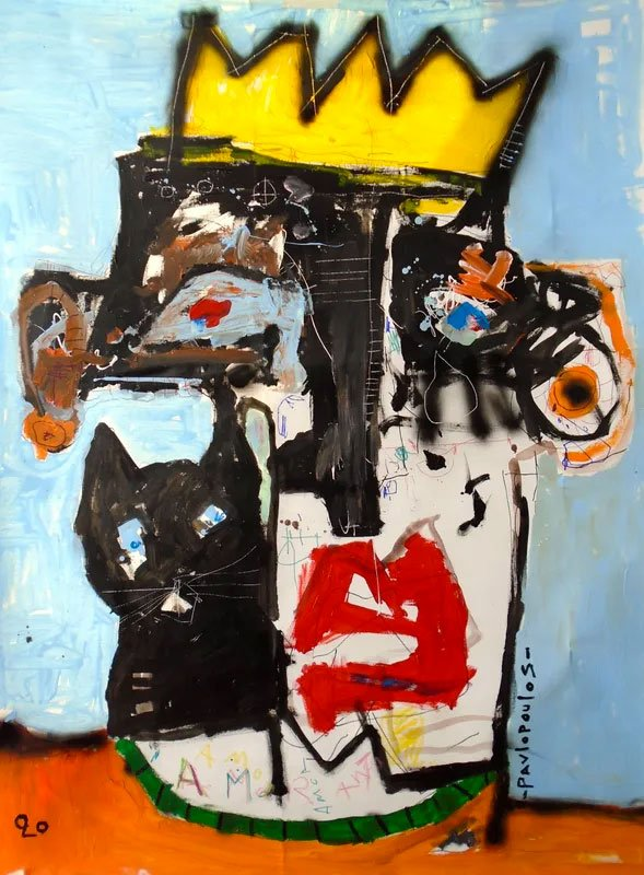 abstract painting of a face with a cat