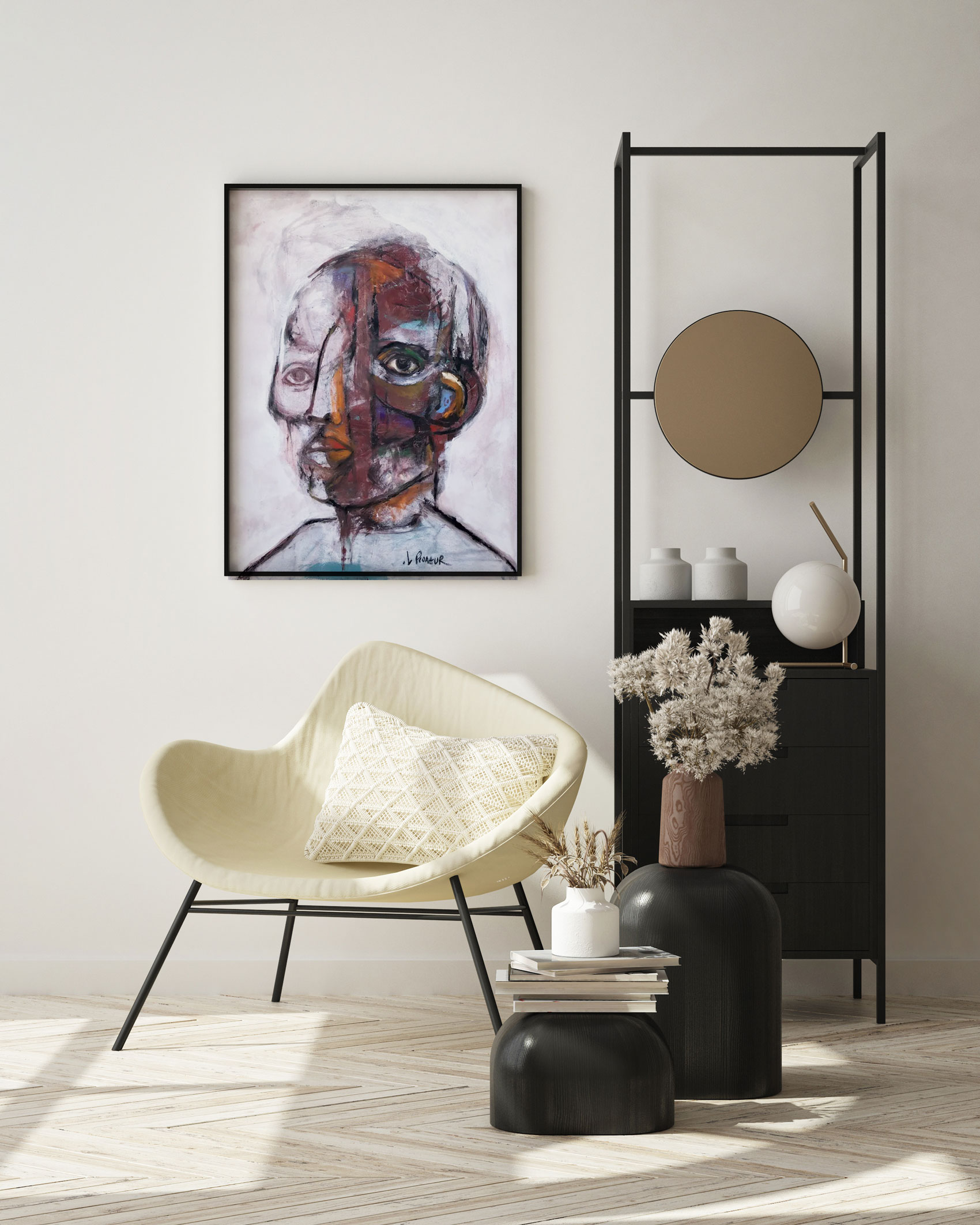 abstract face art in room