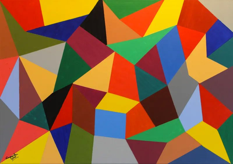 geometric painting with multi-coloured triangles