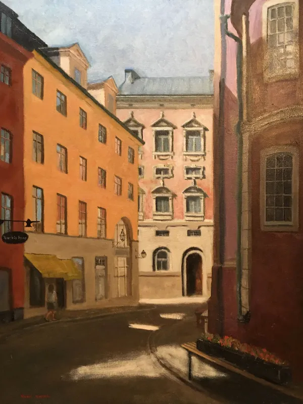 buildings in stockholm painting