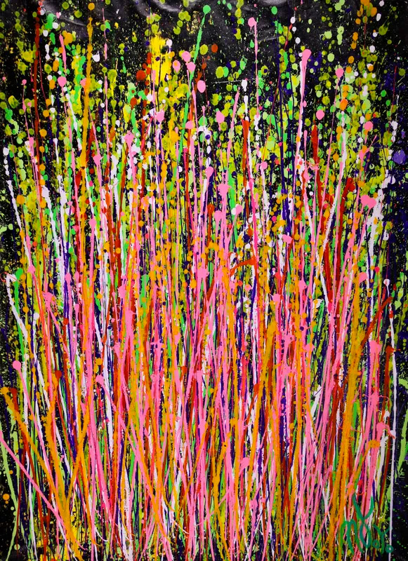 abstract expressionist painting in yellow, green, pink and orange on black background