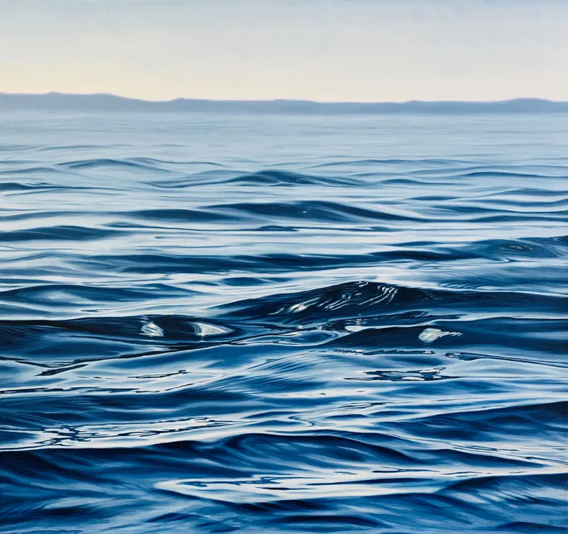 oil painting of blue ocean