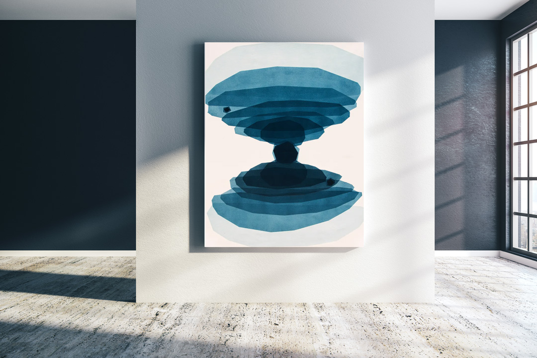 geometric blue abstract art