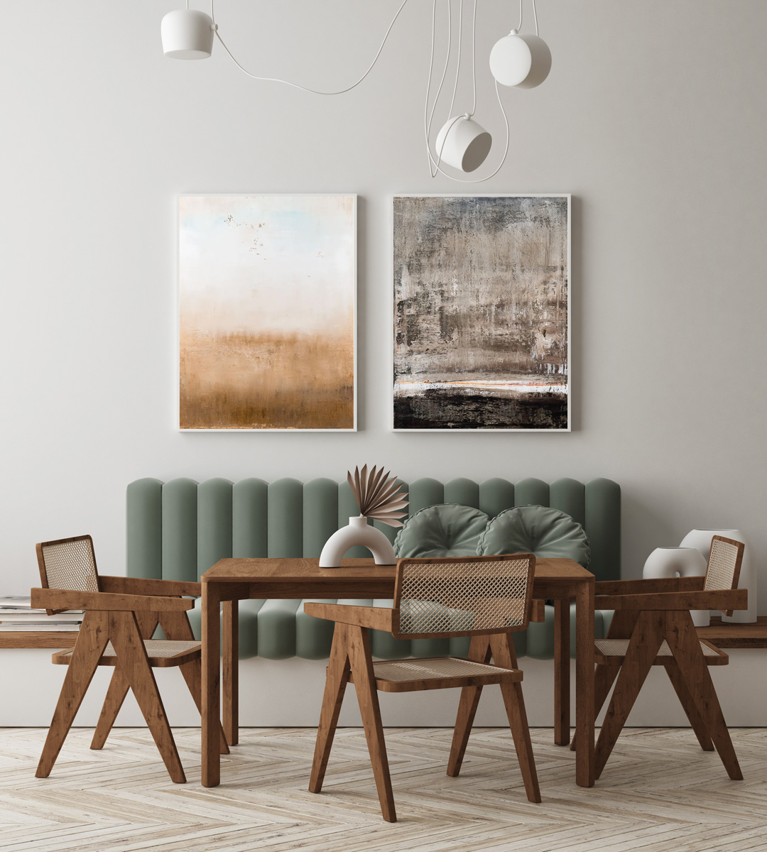 earth tones art in dining room