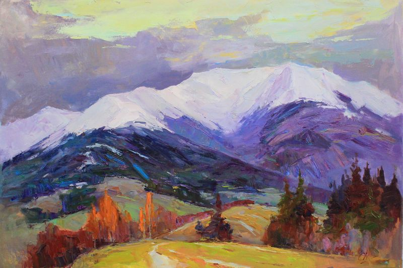 landscape painting of mountains